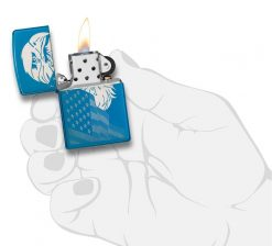 Zippo - High Polish Blue Eagle and Flag Design Lighter Front Side Open With Hand Graphic