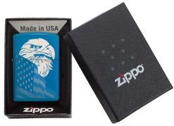 Zippo - High Polish Blue Eagle and Flag Design Lighter Front Side Closed in Box