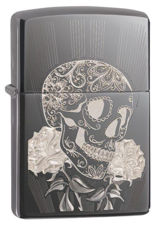 Zippo - Fancy Skull Design Lighter Front Side Closed