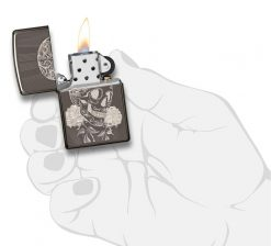 Zippo - Fancy Skull Design Lighter Front Side Open With Hand Graphic