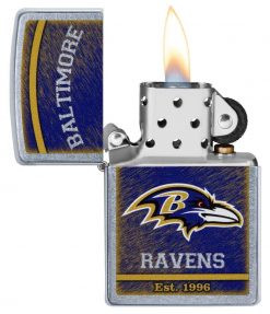 Zippo - NFL Baltimore Ravens Design Lighter Front Side Open With Flame