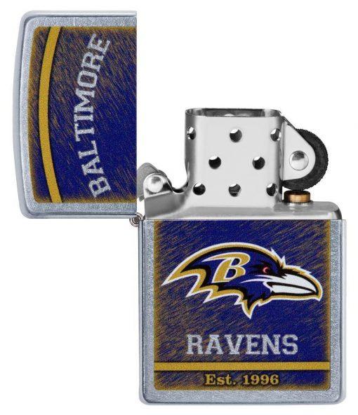 Zippo - NFL Baltimore Ravens Design Lighter Front Side Open