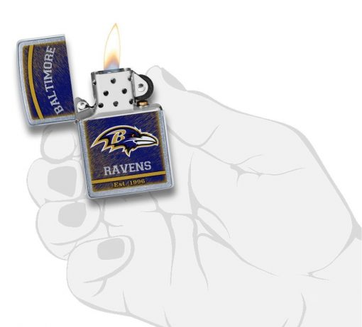 Zippo - NFL Baltimore Ravens Design Lighter Front Side Open With Hand Graphic