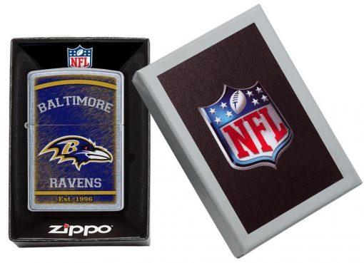 Zippo - NFL Baltimore Ravens Design Lighter Front Side Closed in Box