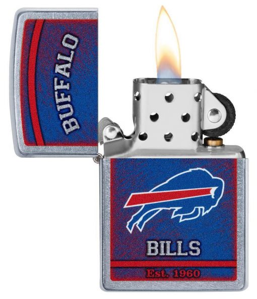 Zippo - NFL Buffalo Bills Design Lighter Front Side Open With Flame