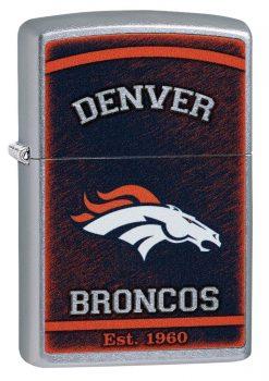 Zippo - NFL Denver Broncos Design Lighter Front Side Closed Angled