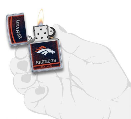 Zippo - NFL Denver Broncos Design Lighter Front Side Open With Hand Graphic