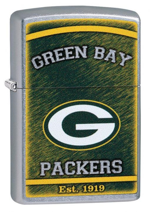 Zippo - NFL Green Bay Packers Design Lighter Front Side Closed Angled