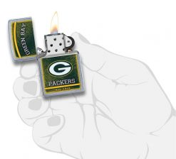 Zippo - NFL Green Bay Packers Design Lighter Front Side Open With Hand Graphic