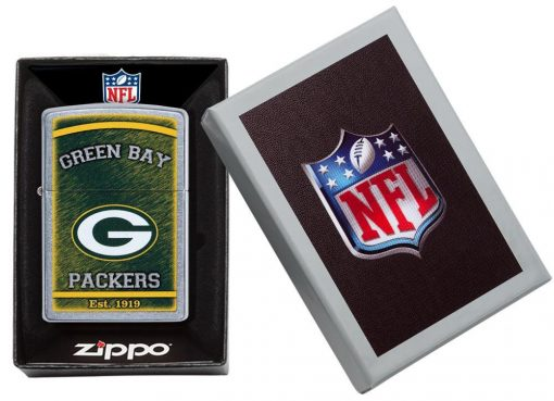 Zippo - NFL Green Bay Packers Design Lighter Front Side Closed in Box