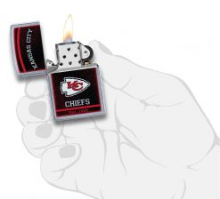 Zippo - NFL Kansas City Chiefs Design Lighter Front Side Open With Hand Graphic