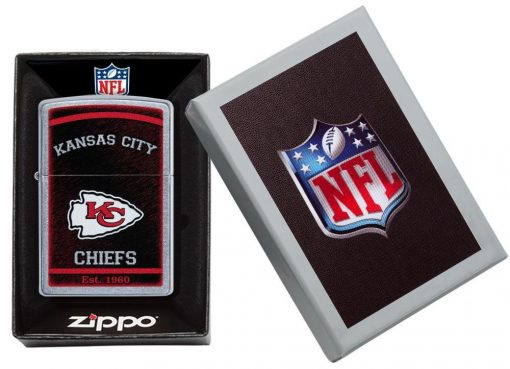 Zippo - NFL Kansas City Chiefs Design Lighter Front Side Closed in Box