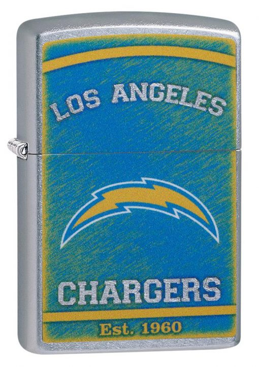 Zippo - NFL Los Angeles Chargers Design Lighter Front Side Closed Angled