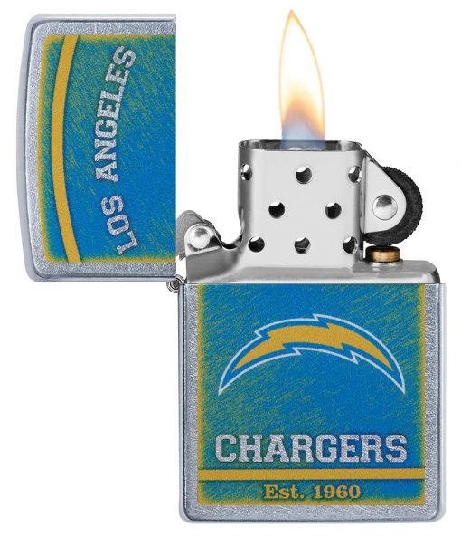Zippo - NFL Los Angeles Chargers Design Lighter Front Side Open