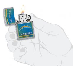 Zippo - NFL Los Angeles Chargers Design Lighter Front Side Open With Hand Graphic