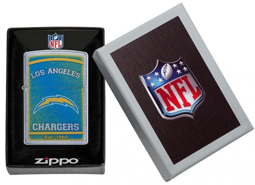 Zippo - NFL Los Angeles Chargers Design Lighter Front Side Closed in Box