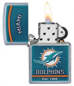 Zippo - NFL Miami Dolphins Design Lighter Front Side Open