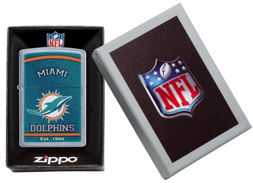 Zippo - NFL Miami Dolphins Design Lighter Front Side Closed in Box