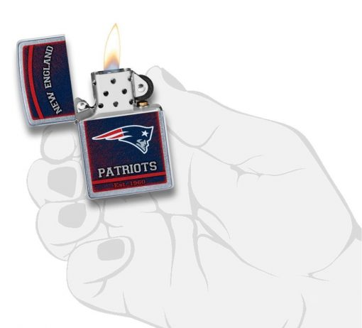 Zippo - NFL New England Patriots Design Lighter Front Side Open With Hand Graphic