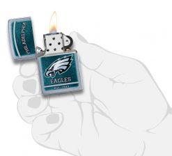 Zippo - NFL Philadelphia Eagles Design Lighter Front Side Open With Hand Graphic