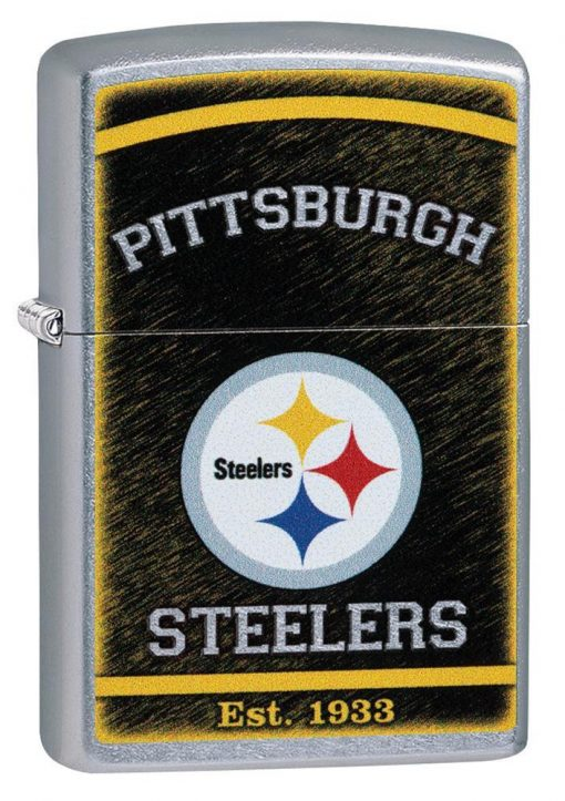 Zippo - NFL Pittsburgh Steelers Design Lighter Front Side Closed Angled