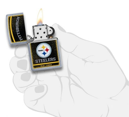 Zippo - NFL Pittsburgh Steelers Design Lighter Front Side Open