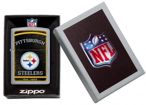 Zippo - NFL Pittsburgh Steelers Design Lighter Front Side Closed in Box