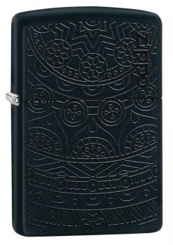 Zippo - Tone on Tone Design Lighter Front Side Closed Angled