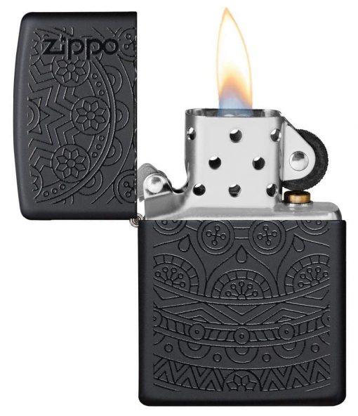 Zippo - Tone on Tone Design Lighter Front Side Open