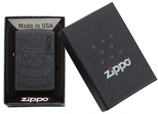 Zippo - Tone on Tone Design Lighter Front Side Closed in Box