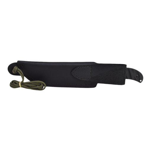 TOPS - Silent Hero Black River Wash 1095 Fixed Blade Black Linen Micarta Handle Sheath Back Side