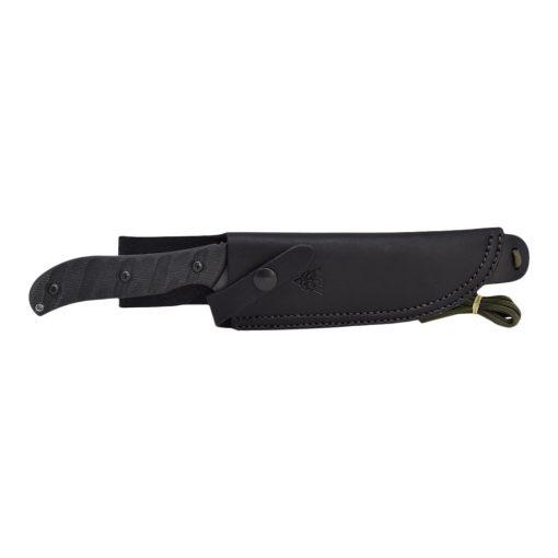 TOPS - Silent Hero Black River Wash 1095 Fixed Blade Black Linen Micarta Handle Sheath Front Side