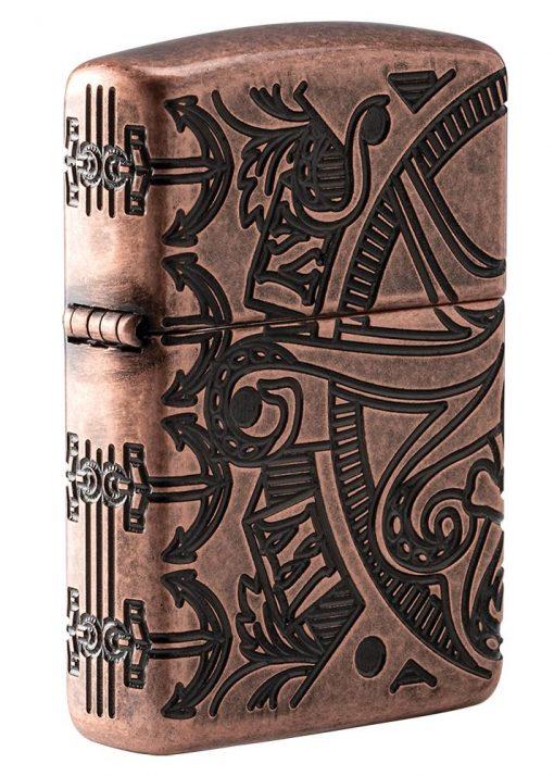 Zippo - Armor Antique Copper Nautical Scene Design Lighter Front Side Closed Angled