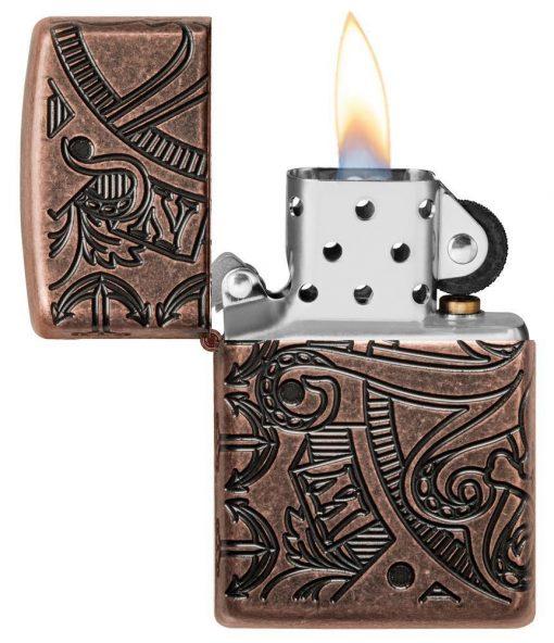 Zippo - Armor Antique Copper Nautical Scene Design Lighter Front Side Open