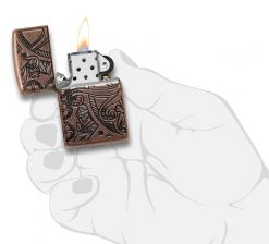 Zippo - Armor Antique Copper Nautical Scene Design Lighter Front Side Open With hand Graphic