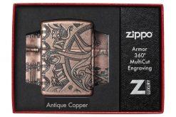 Zippo - Armor Antique Copper Nautical Scene Design Lighter Front Side Closed in Box