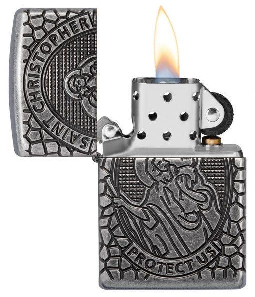 Zippo - Armor St. Christopher Metal Design Lighter Front Side Open