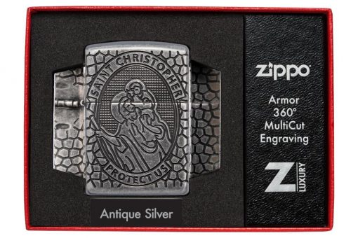 Zippo - Armor St. Christopher Metal Design Lighter Front Side Closed in Box