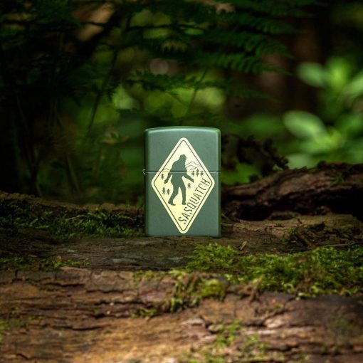 Zippo - Sasquatch Design Lighter Front Side Closed With Nature Background