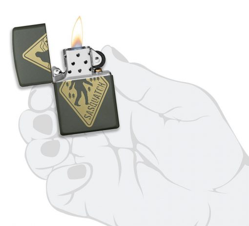 Zippo - Sasquatch Design Lighter Front Side Open With Hand Graphic