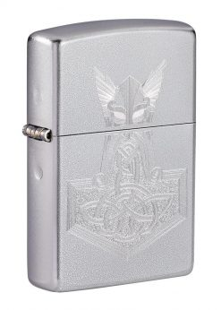 Zippo - Hammer of Thor Design Lighter Front Side Closed Angled