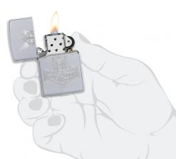 Zippo - Hammer of Thor Design Lighter Front Side Open With Hand Graphic