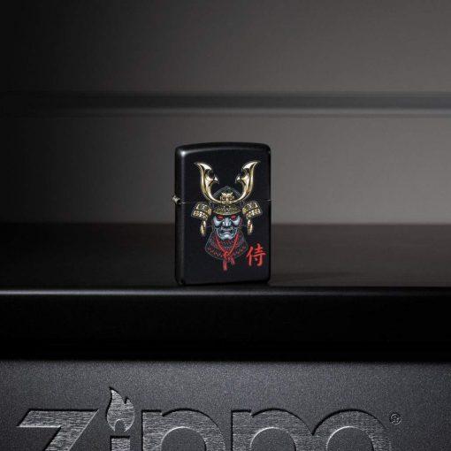Zippo - Samurai Helmet Design Lighter Front Side Closed With Background