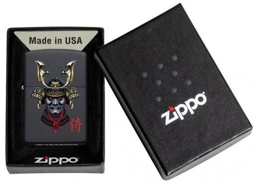 Zippo - Samurai Helmet Design Lighter Front Side Closed in Box