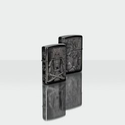 Zippo - Knight Fight Design Lighter Front And Back Side Closed Angled