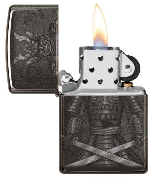 Zippo - Knight Fight Design Lighter Front Side Open