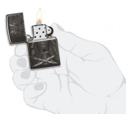 Zippo - Knight Fight Design Lighter Front Side Open With Hand Graphic