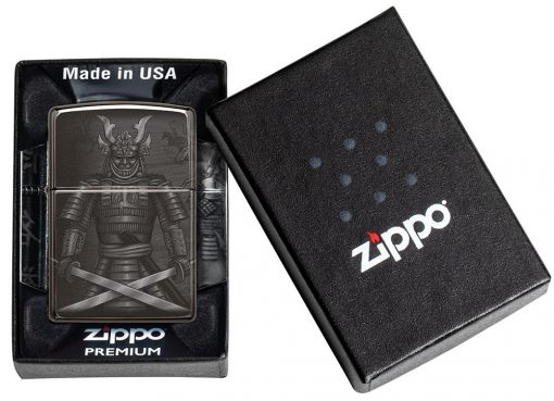 Zippo - Knight Fight Design Lighter Front Side Closed in Box