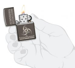 Zippo - Odin Design Lighter Front Side Open With Hand Graphic