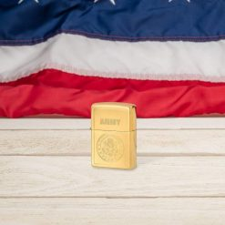 Zippo - U.S. Army Emblem Lighter Front Side Closed With Flag Background